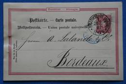 AE 8 ALLEMAGNE BELLE CARTE   1889  FRANKFURT    POUR  BORDEAUX  LALANDE ...FRANCE+ + AFFRANCH.INTERESSANT - Brieven En Documenten