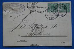 AE 8 ALLEMAGNE BELLE CARTE   1893 HAMBURG POUR  BORDEAUX FRANCE+ PAIRE DE TP + AFFRANCH.INTERESSANT - Brieven En Documenten
