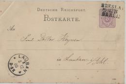 Germany 1885 Stationary  Card 5 Pf, Train Cancel BRESLAU-BERLIN To LAUBAN - Brieven En Documenten