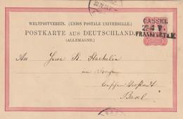 Allemagne Ambulant Linéaire Cassel / Frankfurt Sur Carte Postale Pour La Suisse 1884 - Brieven En Documenten