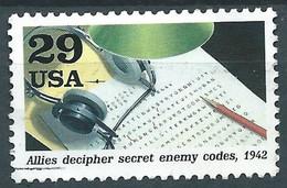 VERINIGTE STAATEN ETATS UNIS USA 1992 SECOND WORLD WAR: HEADPHONES / CODED MESSAGES 29¢ USED SC 2697F YT 2104 MI 2307 SG - Blocks & Kleinbögen