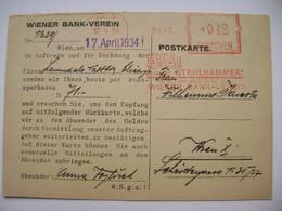 Postkarte 1934 Meter Stamp Freistempel Frankotype WIEN Wiener Bank-Verein, Werbung - Advertising - Brieven En Documenten