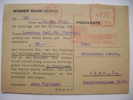 Postkarte 1931 Meter Stamp Freistempel Frankotype WIEN Wiener Bank-Verein, Werbung - Advertising - Brieven En Documenten