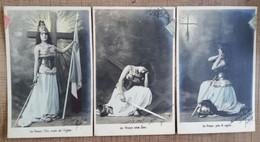 3 CPA Patriotique Allégorie France Prière Dieu Epée Femme Jeanne D'Arc. Série Cartes Patriotiques - Heimat