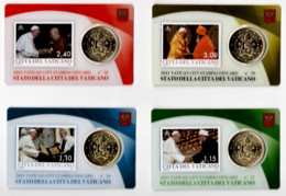 ** 50 CENT VATICAN 2021 SERIE 4 X STAMPS/COINS CARDS N° 36 / 37 / 38 / 39  ** - Vatikan