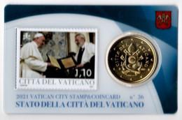 ** 50 CENT VATICAN 2021 STAMP/COIN CARD N° 36  ** - Vatikan