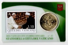 ** 50 CENT VATICAN 2021 STAMP/COIN CARD N° 37  ** - Vatikan