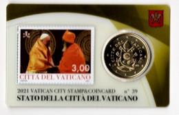 ** 50 CENT VATICAN 2021 STAMP/COIN CARD N° 39  ** - Vatikan