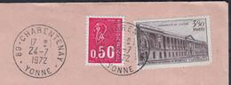Colonnade LOUVRE 3f50 Y.et.T.780 + Mne De Béquet 50c Y.et.T.1664 Sur Enveloppe De 89 CHARENTENAY Le 24 7 1972 - Briefe U. Dokumente