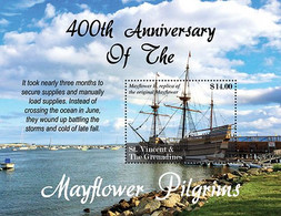 St. Vincent & The Grenadines 2021 400TH ANNIVERSARY OF THE MAYFLOWER SHIP COMPACT AND PILGRIMS SHEETLET  I202110 - St.Vincent Und Die Grenadinen