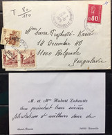 FRANCE 1975 DIARVILLE JRTHE - ET- MOSELLE UNDER PAID COVER DUE HANDWRITTEN JUGOSLOVAKIA 3 STAMPS AFFIXED - Briefe U. Dokumente