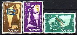 ISRAEL - 1956 - Nouvel An - 30,50,150 P Obl. Sans Tabs - Yv 113/15 - Gebraucht (ohne Tabs)
