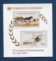⭐ Nations Unies - Vienne - YT Bloc N° 2 ** - Neuf Sans Charnière - 1985 ⭐ - Blocks & Kleinbögen