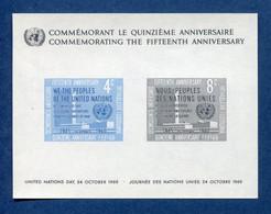 ⭐ Nations Unies - New York - YT Bloc N° 2 ** - Neuf Sans Charnière - 1960 ⭐ - Blocks & Kleinbögen