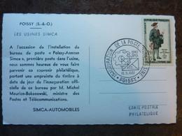 1961  Journée Du Timbre Les Usines SIMCA Poissy    Parfait état - Storia Postale