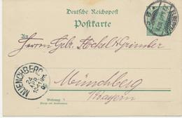 """DEUTSCHES REICH """"ELBERFELD / 2"""" K2 Auf Pra.-GA-Postkarte 5 Pf Germania Reichspost Nach MÜNCHBERG, Bayern, 1901 - Brieven En Documenten"""