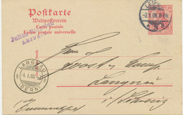 """DEUTSCHES REICH """"LEIPZIG / 3"""" K2 Auf Pra.-GA-Postkarte 10 Pf Germania AUSLANDSKARTE Nach LANGNAU (BERN), Schweiz Mit Ank - Brieven En Documenten"""