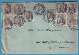 Env Du Dr Molly (créateur Des Timbres Du Territ Neutre) Affr 2 Pfg X10 Càd PREUSSISCH-MORESNET /1907 Pour Les USA - Brieven En Documenten