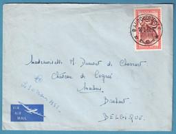 Env Par Avion Affr 50c Masque Càd BAUDOUINVILLE /1952 Pour Marbais - 1947-60: Brieven