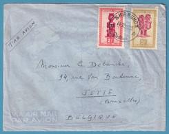 Env Par Avion Affr 2f + 5f Masque Càd SHABUNDA /1952 Pour Jette - 1947-60: Brieven