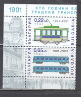Bulgaria 2001 - 100 Years Of Electrified Passenger Transport In Bulgaria, Mi-Nr. 4503/04, MNH** - Ungebraucht
