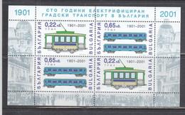 Bulgaria 2001 - 100 Years Of Electrified Passenger Transport In Bulgaria, Mi-Nr. 4503/04 In Sheet, MNH** - Ungebraucht
