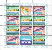 Bulgaria 1978 Mi# 2652-2653 Klb. ** MNH - Sheet Of 12 (3 X 4) - The Danube, European Intercontinental Waterway / Bridges - Ungebraucht