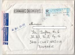 AMOUNT 39, WITTENHEIM,MACHINE PRINTED STICKER STAMPS ON REGISTERED COVER, 1998, FRANCE - Briefe U. Dokumente