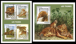 CENTRAL AFRICA 2021 - Tigers, M/S + S/S. Official Issue [CA210505] - Felinos