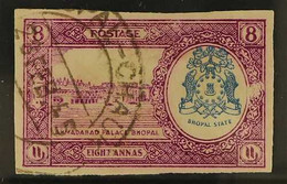 BHOPAL OFFICIAL 1936-49 8a Bright Purple & Blue, IMPERF Single With OVERPRINT OMITTED, SG O340e, Used, Small Surface Rub - Ohne Zuordnung