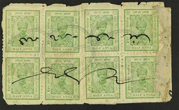 IDAR 1932-43 ½a Yellow-green, SG 1c, Two BLOCKS Of 4 Used (probably Fiscally) On Piece/part Native Document, Some Faults - Ohne Zuordnung