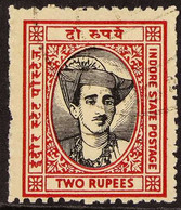 """INDORE 1940-46 2r Black & Carmine """"Maharaja Holkar II"""", Perf 11, SG 42, Fine Cds Used With Clear Profile. For More Image - Ohne Zuordnung"""