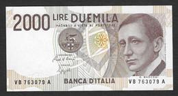 """Italia - Banconota Non Circolata FDS UNC Da 2000 Lire """" Marconi"""" P-115a.1 - 1990 #19 - 2000 Lire"""