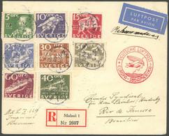 ZULEITUNGSPOST 403B BRIEF, Schweden: 1936, 1. Südamerikafahrt, Einschreibbrief, Rückseitiger Bahnpoststempel BERLIN-SASS - Luftpost