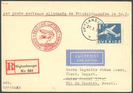 ZULEITUNGSPOST 403B BRIEF, Schweden: 1936, 1. Südamerikafahrt, Aufgabe HÖGLANDSTORGET, Einschreibbrief, Rückseitiger Bah - Luftpost
