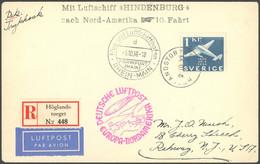 ZULEITUNGSPOST 441 BRIEF, Schweden: 1936, 10. Nordamerikafahrt, Einschreibbrief, Pracht - Luftpost