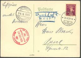 ZULEITUNGSPOST 35h BRIEF, Schweiz: 1929, Schweizfahrt, Abwurf Bern, Prachtkarte - Luftpost