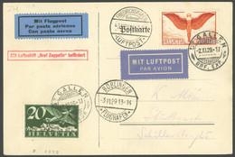 ZULEITUNGSPOST 48 BRIEF, Schweiz: 1929, Fahrt Nach Böblingen, Prachtkarte - Luftpost