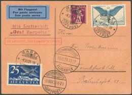 ZULEITUNGSPOST 49 BRIEF, Schweiz: 1929, Fahrt Nach Frankfurt, Prachtkarte - Luftpost