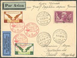 ZULEITUNGSPOST 86 BRIEF, Schweiz: 1930, Landungsfahrt Nach Genf, Seltene Zuleitung Aus Avignon (Zweiländer Frankatur), P - Luftpost