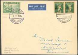 ZULEITUNGSPOST 97 BRIEF, Schweiz: 1930, Fahrt Nach Karlsruhe, Bordpost, Unbekannte Bodensee-Schiffspostaufgabe Mit CH/DR - Luftpost