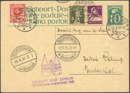 ZULEITUNGSPOST 108 BRIEF, Schweiz: 1931, Ostseejahr-Rundfahrt, Befördert Romanshorn Mit Stempelfehler 13.5. Statt 12.5., - Luftpost