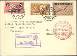 ZULEITUNGSPOST 129Eb BRIEF, Schweiz: 1931, 2. Südamerikafahrt, Anschlußflug Ab Berlin, Frankiert Mit Mi.Nr. 245x,181,183 - Luftpost