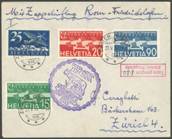 ZULEITUNGSPOST 207 BRIEF, Schweiz: 1933, Italienfahrt, Mit Rotem R2 Taxe Percue Zürich Flughafen Und Handschriftlich 1.8 - Luftpost