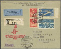 ZULEITUNGSPOST 226 BRIEF, Schweiz: 1933, 5. Südamerikafahrt, Einschreibbrief Ab St. Gallen Am 5.8., Via Friedrichshafen  - Luftpost