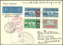 ZULEITUNGSPOST 432B BRIEF, Schweiz: 1936, 12. Südamerikafahrt, Bestätigungsstempel B, Bahnpoststempel FRANKFURT (MAIN)-B - Luftpost
