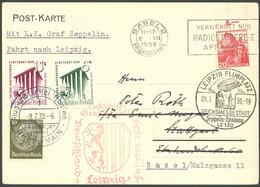 ZULEITUNGSPOST 457 BRIEF, Schweiz: 1939, Fahrt Nach Leipzig, Seltene Doppelbeförderung, Karte Ab Basel Mit 20 Rp. Auslan - Luftpost