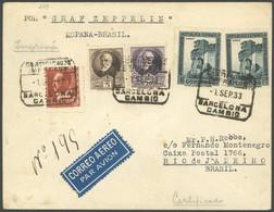 ZULEITUNGSPOST 229 BRIEF, Spanien: Vorläufer (als Seepost Befördert) 1933, 6. Südamerikafahrt, Einschreib-Aufgabe BARCEL - Luftpost