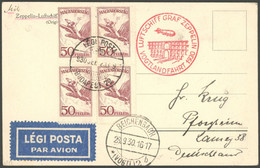 ZULEITUNGSPOST 90 BRIEF, Ungarn: 1930, Vogtlandfahrt, Frankiert Mit Viererblock Mi.Nr. 435, Prachtkarte - Luftpost