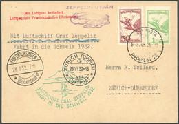 ZULEITUNGSPOST 166a BRIEF, Ungarn: 1932, Schweizfahrt, Abwurf Zürich, Prachtkarte - Luftpost